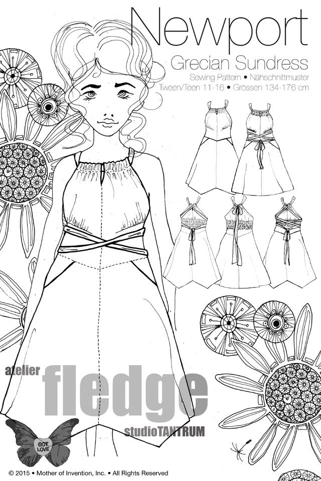 Newport, Teen-Kleid, Papierschnittmuster | Kinderschnitte ...