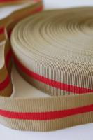 Ripsband, beige-rot, 2 cm breit