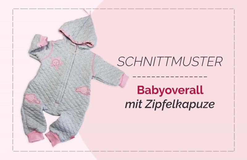 Schnittmuster Babyanzug Overall Tommi mit Zipfelkapuze und langen Bündchen