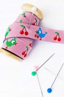 Webband Rosa mit Kirschen und Vögelchen, farbenmix Design