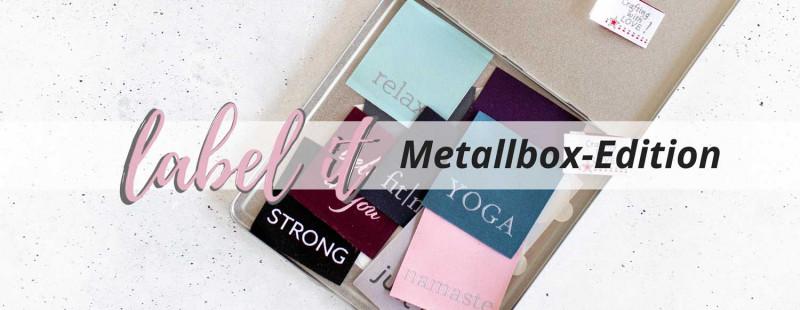 Webetiketten Label-it in Metalldose