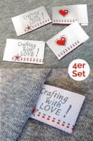 Crafting with LOVE, 4er Set, silber, Einnäher