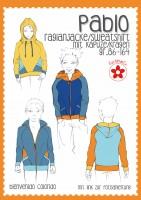Pablo, Raglanjacke/Sweatshirt mit Kapuze/Kragen, Papierschnittmuster