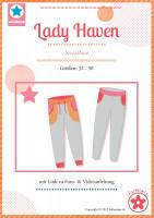 """Schmale Sweathose für Damen nähen. Paierschnittmuster """"Lady Haven"""" mit Video und Nähanleitung bei Farbenmix kaufen."""