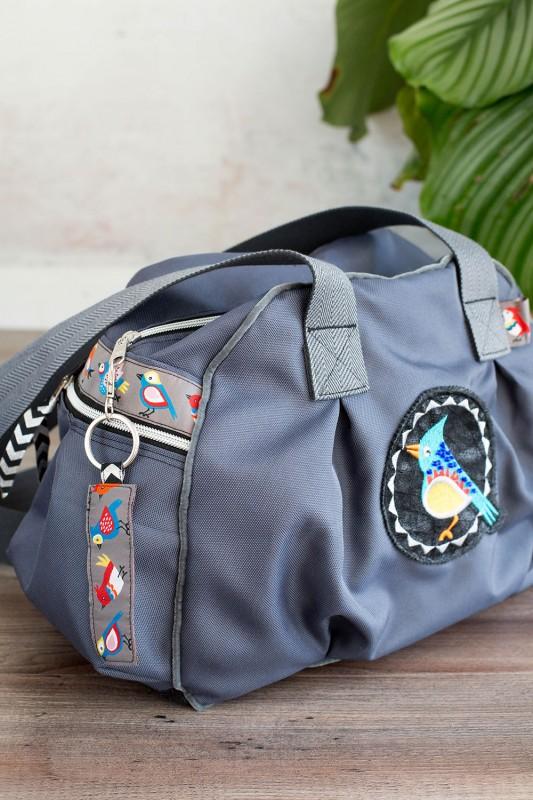 Taschenspieler Tasche mit Birds Borte in Grau
