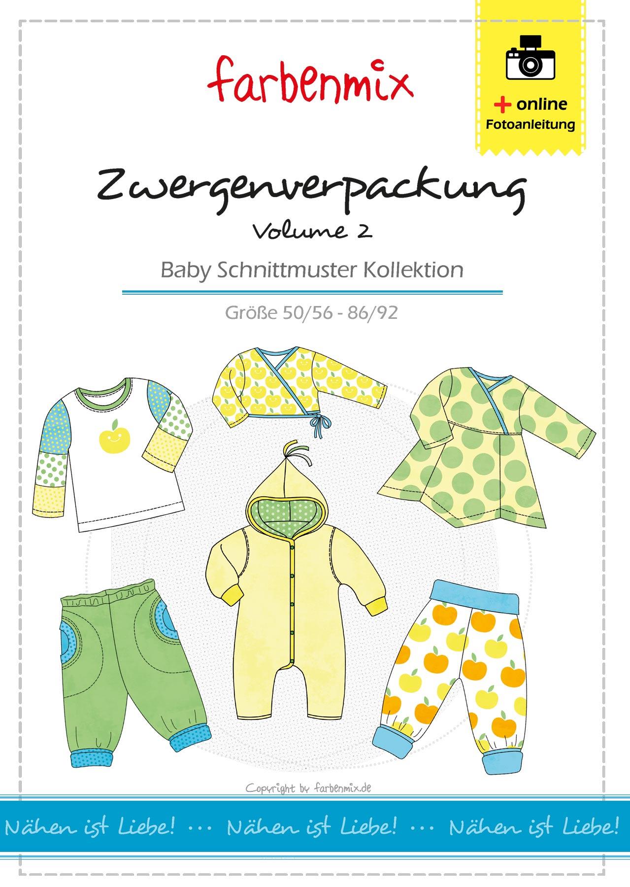 0714529c77b949 Babykleidung nähen - Zwergenverpackung Vol. 2 mit 6 Schnittmustern |  farbenmix