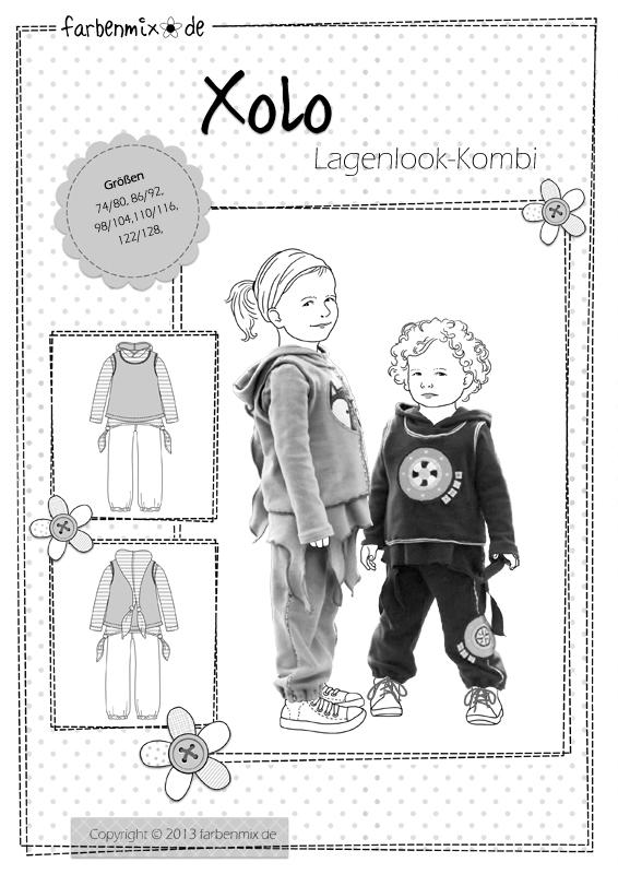 XOLO, Zipfelkombi im Lagenlook, Papierschnittmuster   Kinderschnitte ...