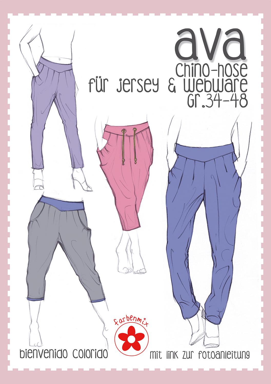 Ava Chino Hose für Damen Papierschnittmuster | farbenmix