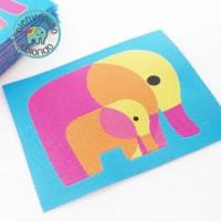 Aufnäher Elefant Retro Blau Pink Gelb