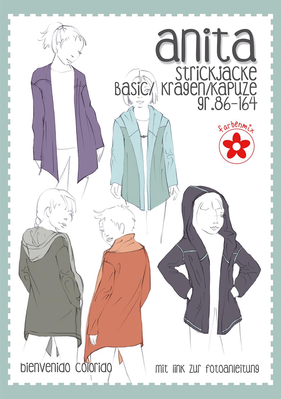 Anita Mädchen Strickjacke Papierschnittmuster | farbenmix