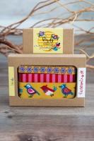 Borten Designer Kollektion Lila-Lotta Birds Gelb