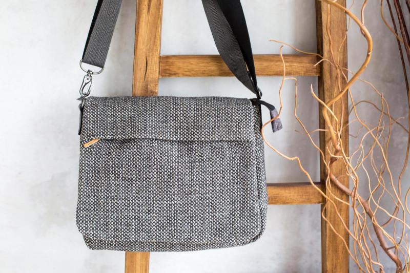 """Messengerbag """"CityStyle"""" genäht aus grobem meliertem Taschenstoff"""